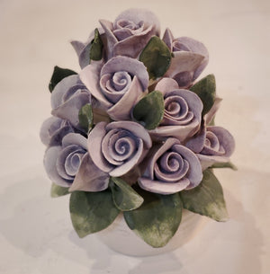 Vintage Capodimonte Ceramic Purple Rose bouquet in white vase