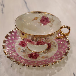 Vintage PINK Royal Hensley teacup and saucer with hand painted pink flowers and gold