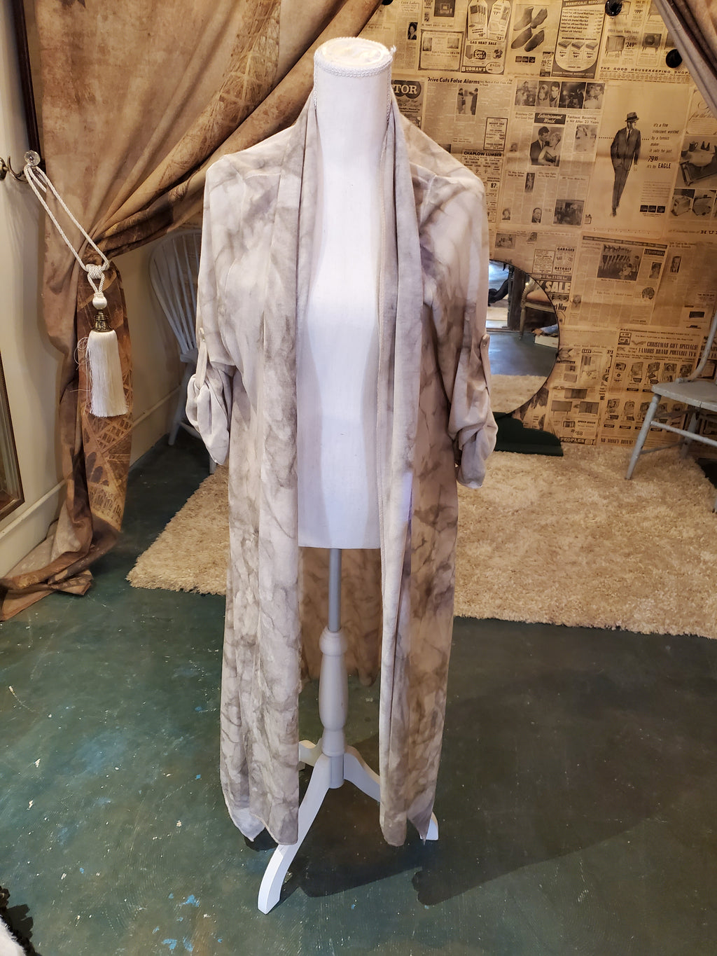 Taupe tie dye Italian silk cardigan with lace detail