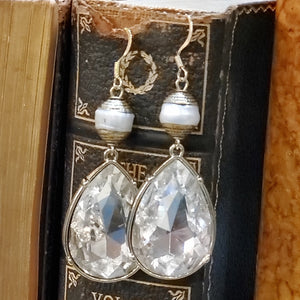 Rhinestone drop earrings w/ genuine pearls - artist made