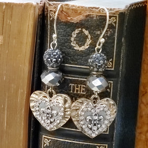 French heart earrings - artist made