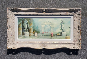 Antique French Painting - Piazza D'Galleria by Rossi