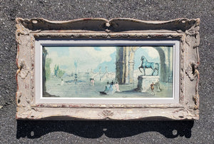 Antique French Painting - Piazza Gondolfo by Rossi