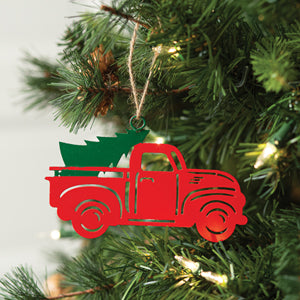 Metal Ornament - Red vintage truck with Christmas tree