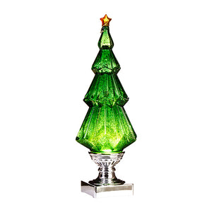 Lighted tree with GREEN swirling glitter
