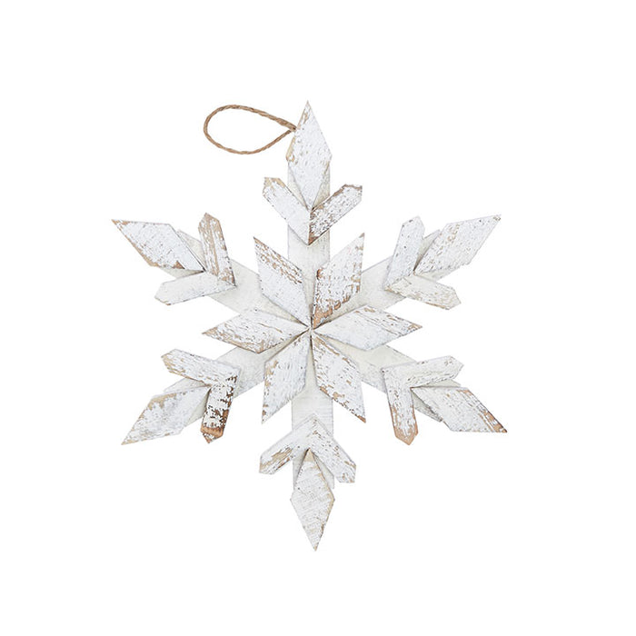 White washed snowflake ornament 14.5""