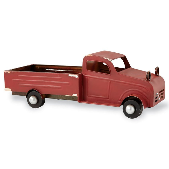 Red metal truck - decorative