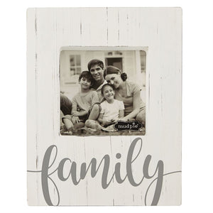 FAMILY White washed wood photo frame
