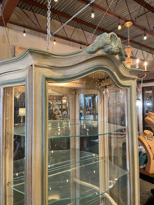 Vintage French Provincial Curio Cabinet w/ curved glass