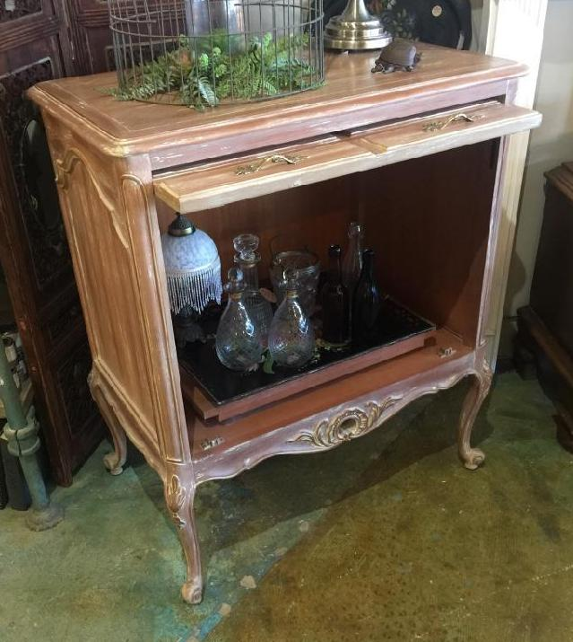 Vintage French Provincial Bar Cabinet - weathered oak