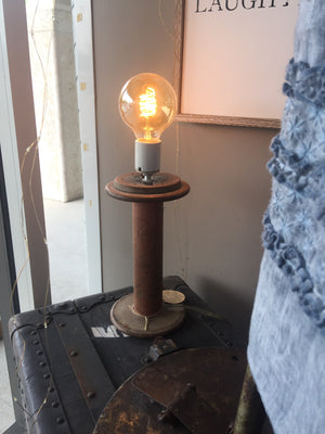 Antique industrial spool lamp Handmade by Local Artist