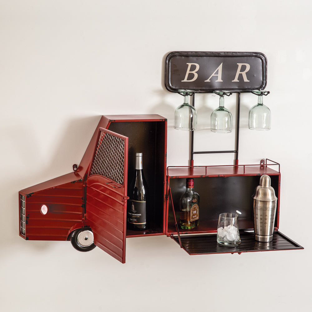 Vintage Red Truck Bar - wall Mount