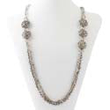 Silver and crystal multistrand necklace