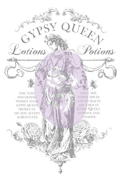 IOD Décor Transfer - Gypsy Brand Lotions and Potions 24 x 36