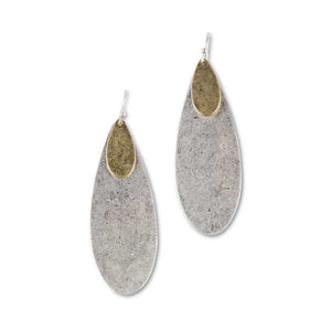 Matte Silver and Gold Oval Earrings