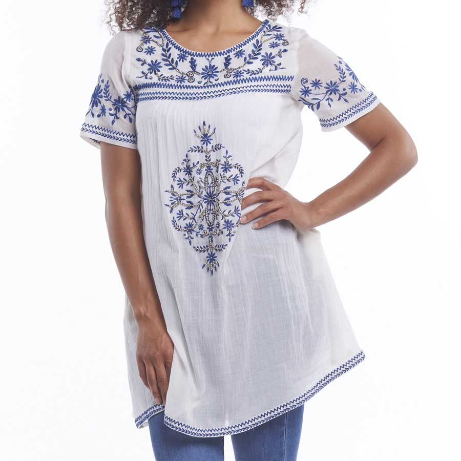 White Tunic With Embroidery and Silver Beads