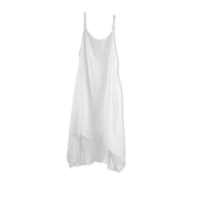 White Asymmetrical Pleated Dress