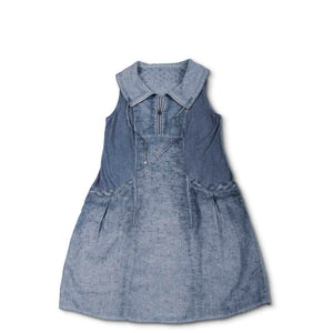Blue Vintage Wash Zipper Linen Dress