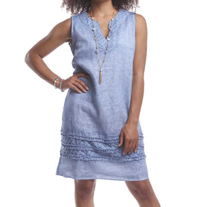 Blue Vintage Wash Linen Dress with Embroidered Flowers