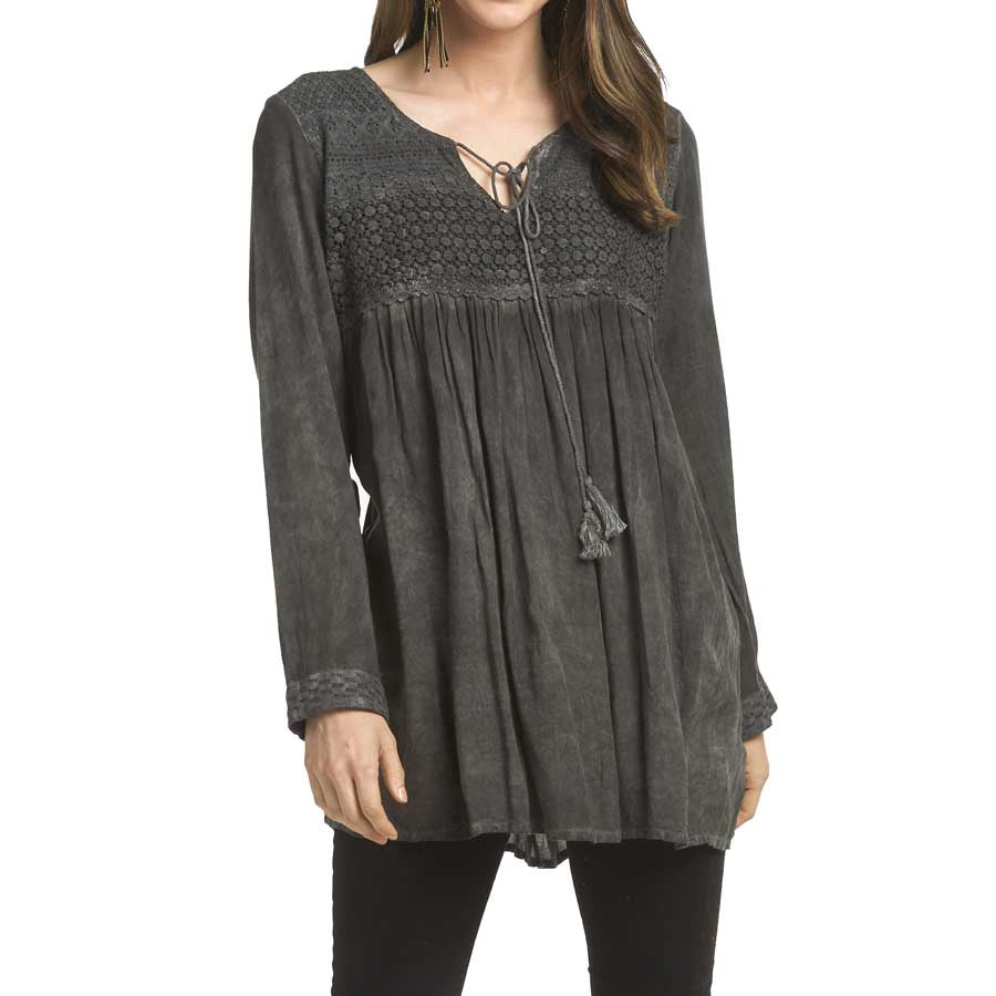Vintage Lace Yolk Peasant Top - Black