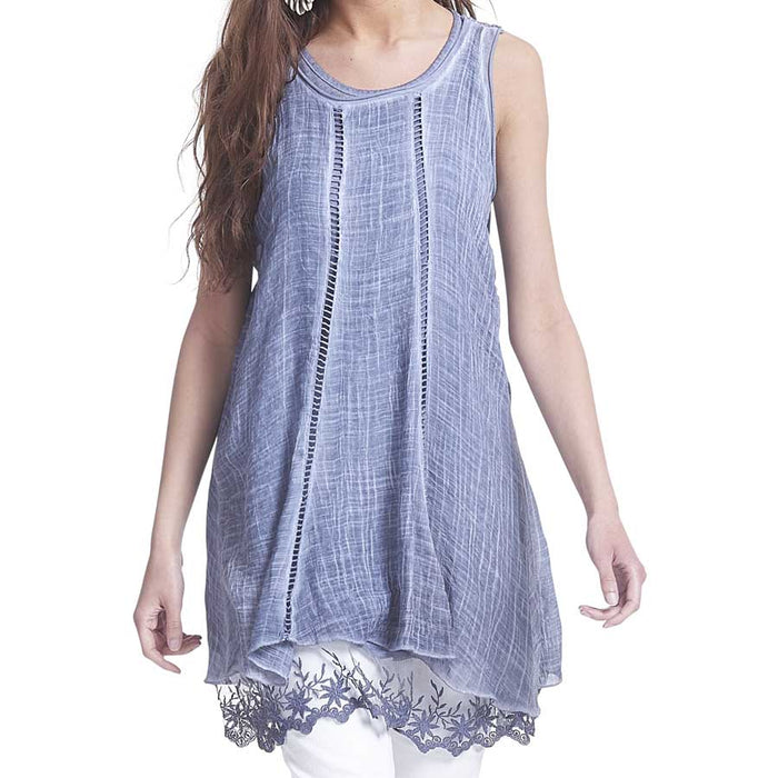 Blue Lace Back Tunic Tank Top Set  - 2 piece