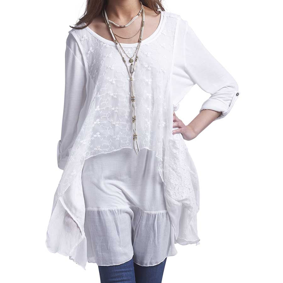 White Lace Tunic Top With Pockets