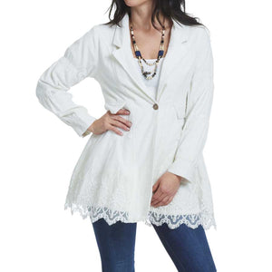 Ivory cordury and Lace Jacket