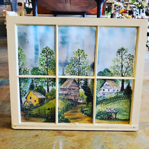 Vintage Window Art - handpainted