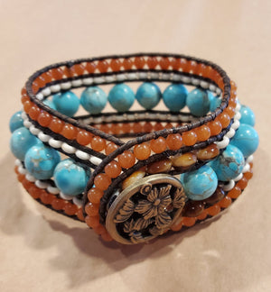 Stone Addiction Cuff Bracelet with Genuine Turquoise