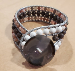 Stone Addiction Cuff Bracelet with coffee jasper