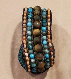 Stone Addiction Cuff Bracelet with matte tiger eye