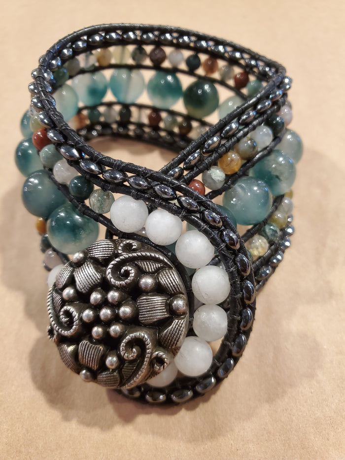 Stone Addiction Cuff Bracelet with jade and jasper