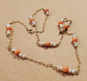 Vintage 24k gold, coral and pearl necklace
