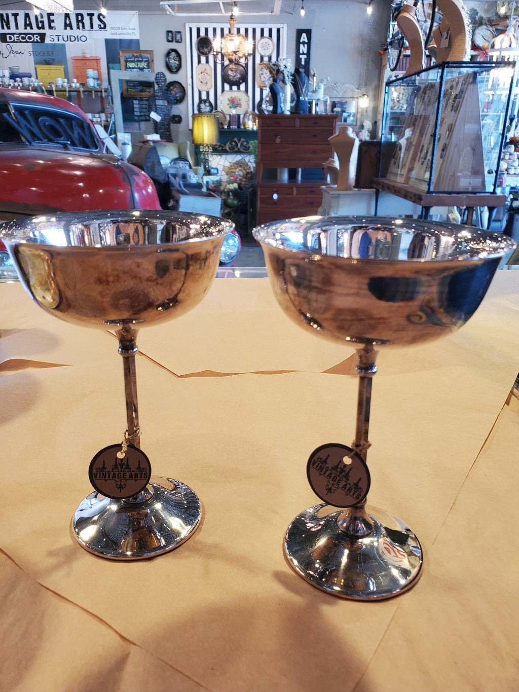 Vintage silver martini glass