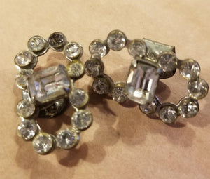 Small rhinestone shoe clip set - vintage as is