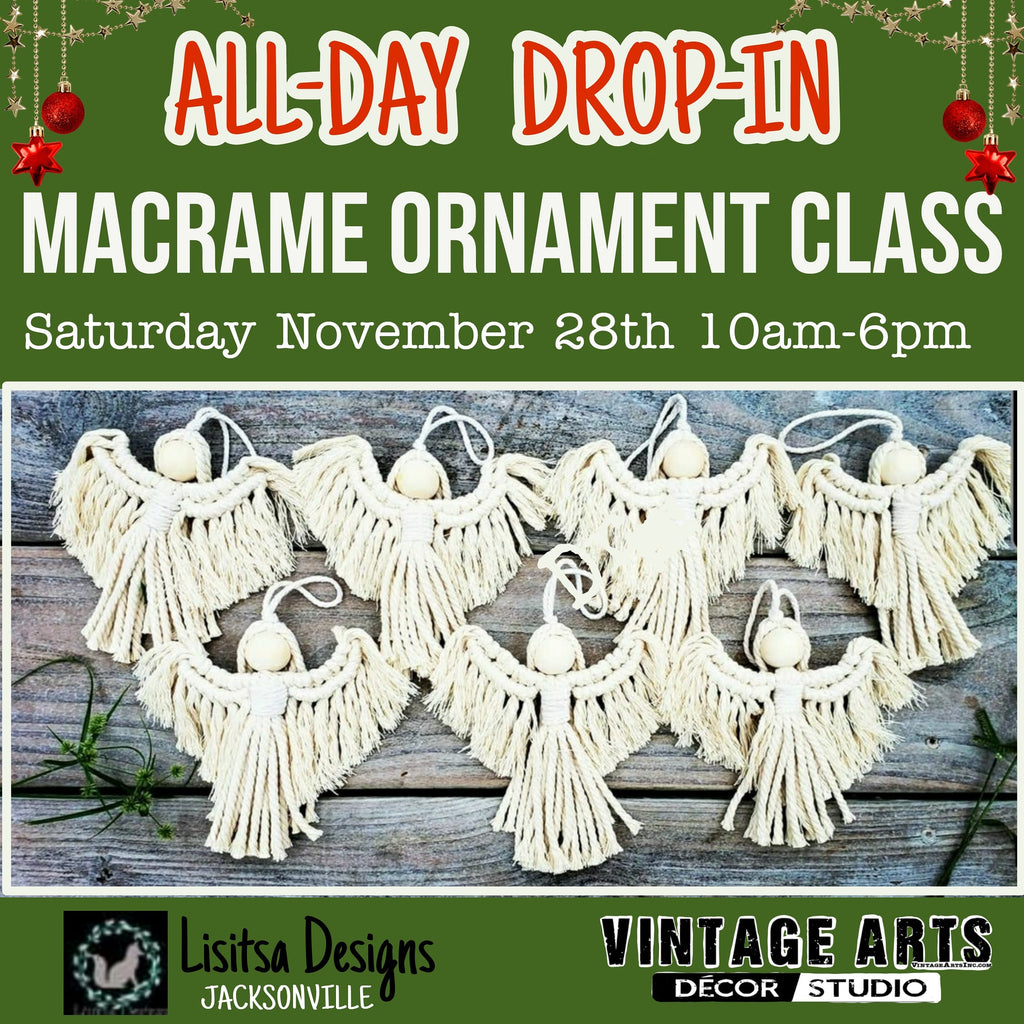 DROP-IN Macrame Ornament Workshop - Saturday November 28th 10am-6pm