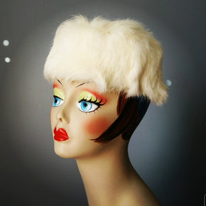 Vintage White Rabbit Fur Pillbox Hat