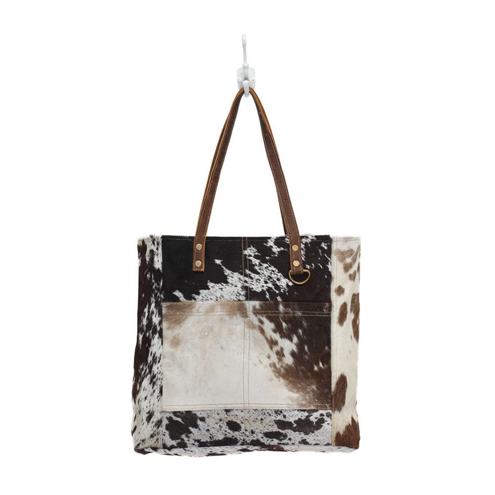 Myra Hairon Front Pocket Bag - cowhide leather