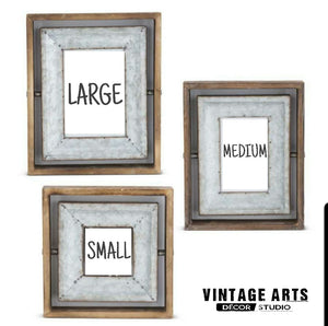 Wood and Tin Photo Frame with Tilting Insert