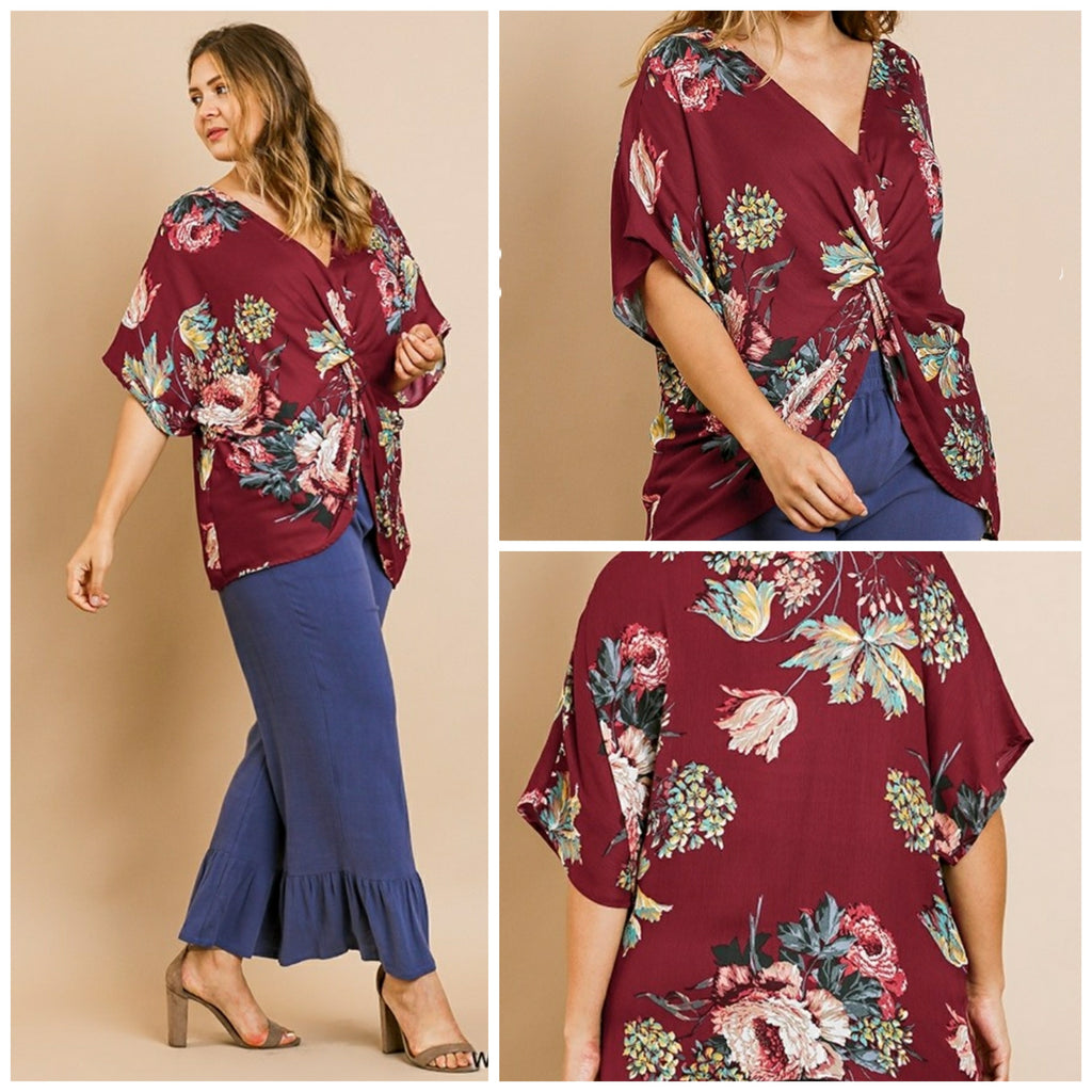Floral Top with Gathered Knot - All Sizes