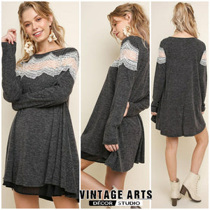 Long Sleeve Dress with Lace