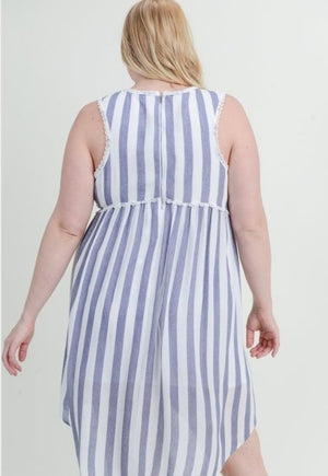 Striped Baby Doll Dress - Plus Size