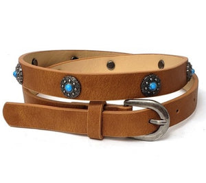Vegan leather belt with turquoise detail - brown