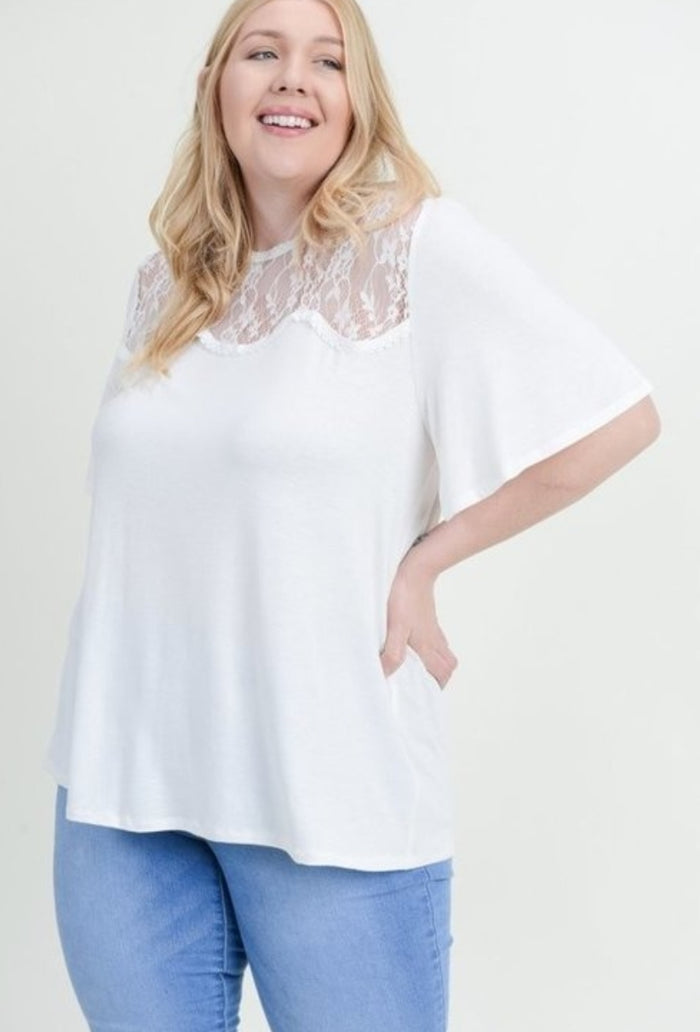 Plus Size Lace Scallop Tshirt