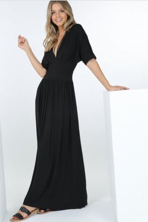 Doleman Sleeve V-Neck Maxi Dress
