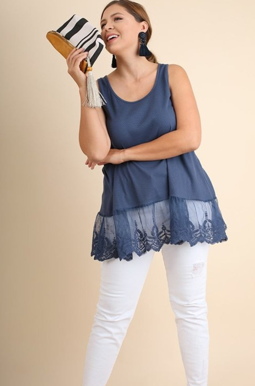 Blue Ribbed Tank Top with Lace Trim - extender