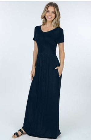 Short Sleeve Maxi Dress with pockets - multiple colors