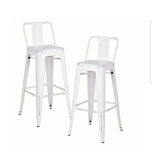 Industrial bar stool - white distressed