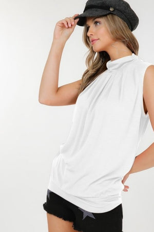 Mock neck tank top with pleated front