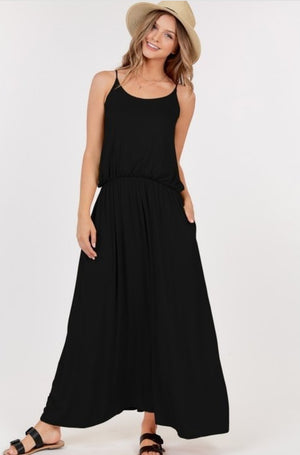 Black Spaghetti Strap Maxi Dress with pockets